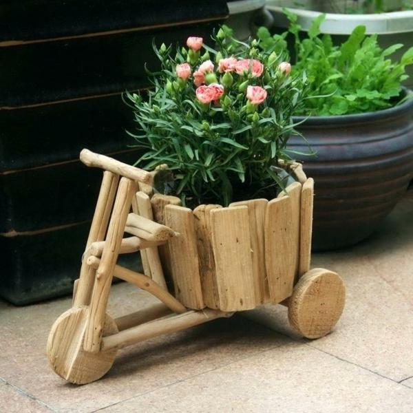 diy cache-pot pas cher vélo en bois