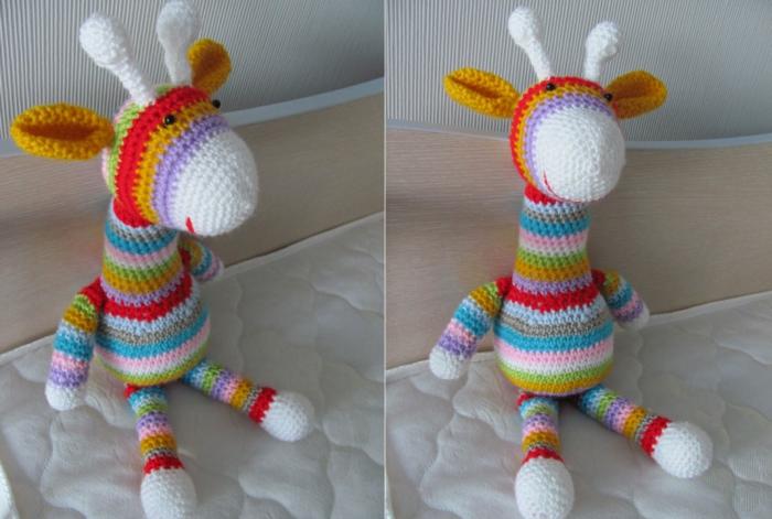 girafe colorée débuter au crochet amigurumi modèle