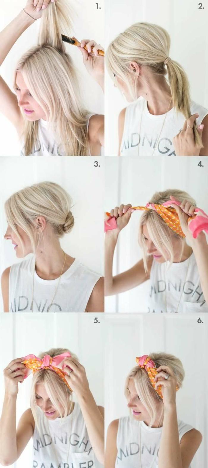 idée coiffure femme nouer foulard cheveux