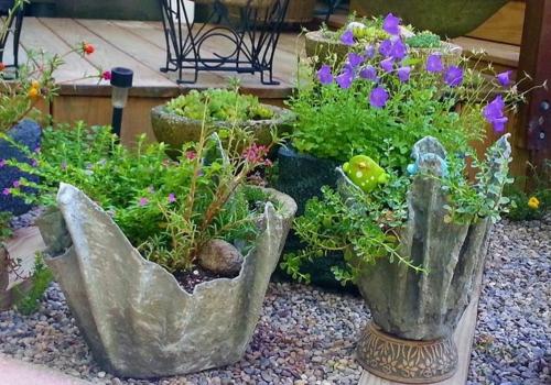 idée déco jardin cache-pot ciment diy