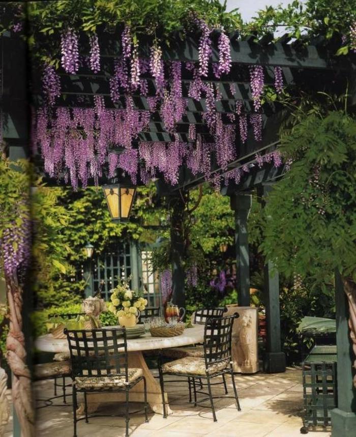 idée déco petit jardin avec pergola en bois