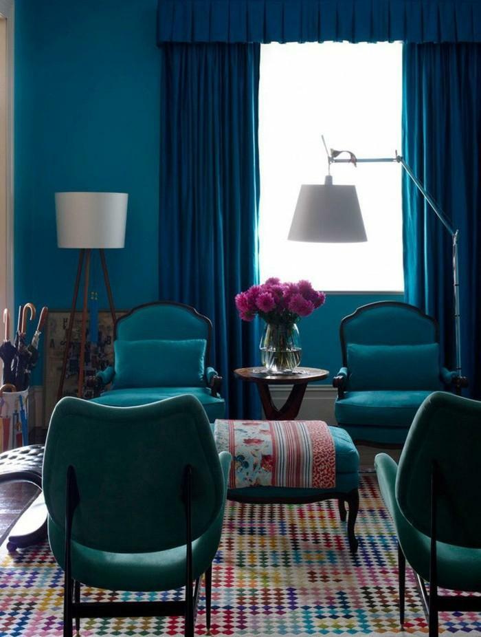 idée décor quelle couleur associer au bleu pétrole