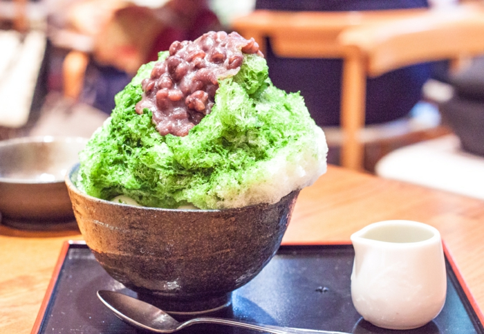 idée de dessert kakigori thé matcha