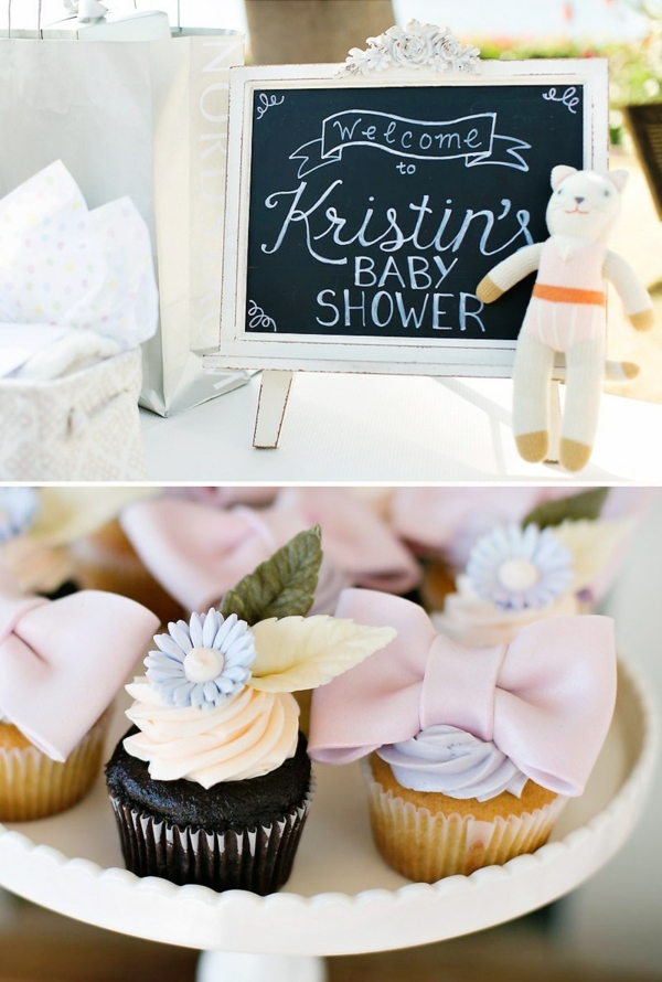 idée gâteau décoration baby shower muffins