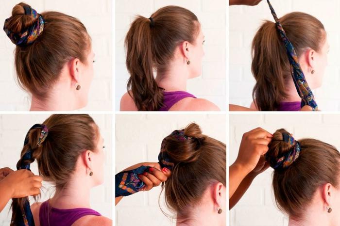 idée nouer foulard cheveux