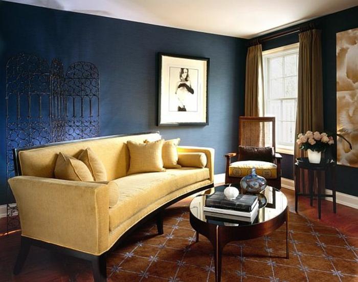 idée quelle couleur associer au bleu pétrole salon