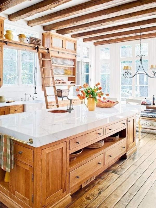 idées déco pour îlot cuisine îlot en bois avec tiroirs