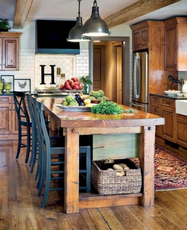 idées déco pour îlot cuisine table en bois solide en tant qu' îlot