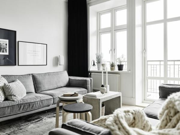 idées pour un salon déco scandinave blanc et noir en simplicité