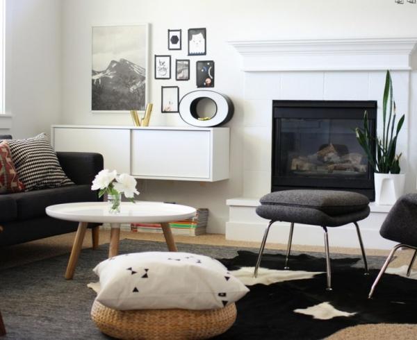 idées pour un salon déco scandinave canapé et fauteuil en gris