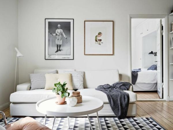 idées pour un salon déco scandinave deux chambres ambigues