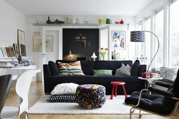 idées pour un salon déco scandinave du blanc et du bleu encre