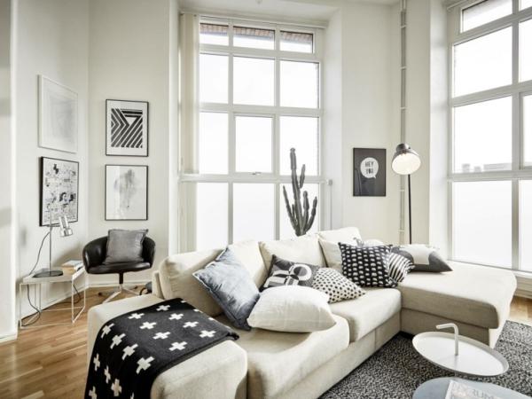 idées pour un salon déco scandinave grand espace cassé en angles