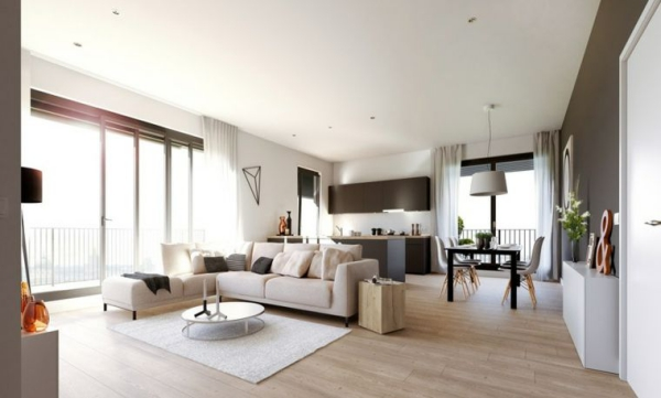 idées pour un salon déco scandinave grand espace divisé en zones