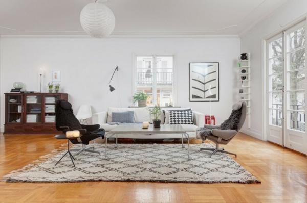 idées pour un salon déco scandinave grand espace murs blancs