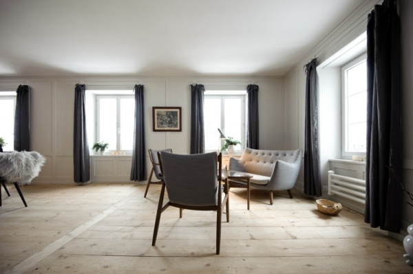 idées pour un salon déco scandinave grand espace pas trop de meubles