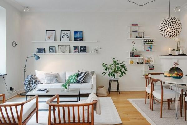 idées pour un salon déco scandinave murs blancs meubles rustique et design