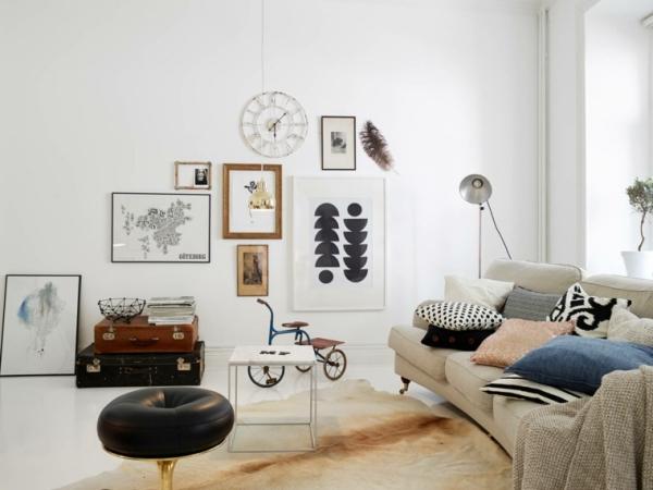idées pour un salon déco scandinave style vintage