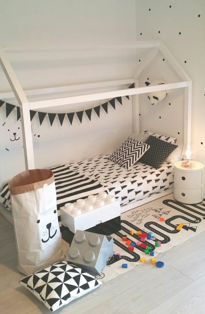 lit cabane montessori chambre enfant blanche
