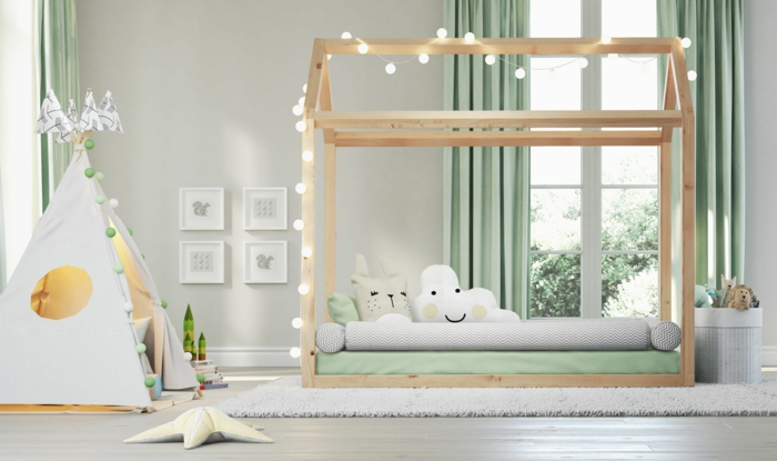 lit cabane montessori chambre enfant en blanc vert et gris