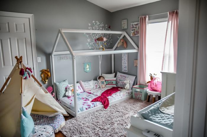 lit cabane montessori chambre enfant grise