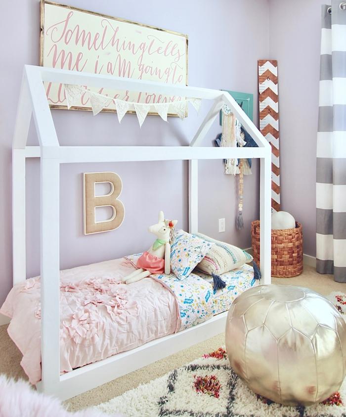 lit cabane montessori chambre enfant tapis berbère