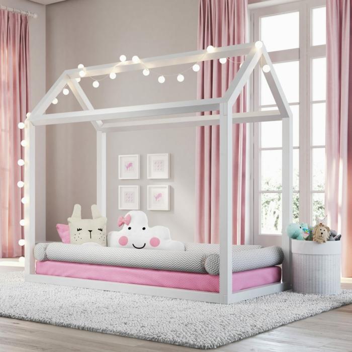 lit cabane montessori chambre fille rose et crème