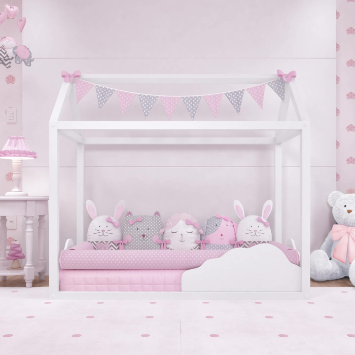 lit cabane montessori chambre rose