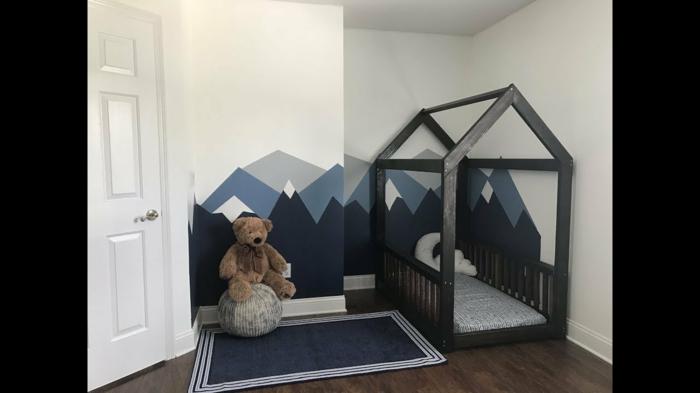 lit cabane montessori en bois noir