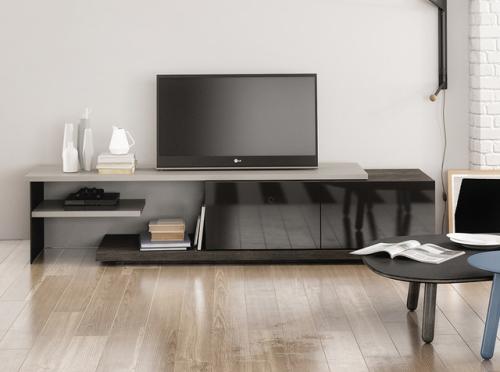 meuble TV bel ensemble en bois et en marbre