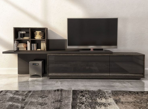 meuble TV ensemble design en gris