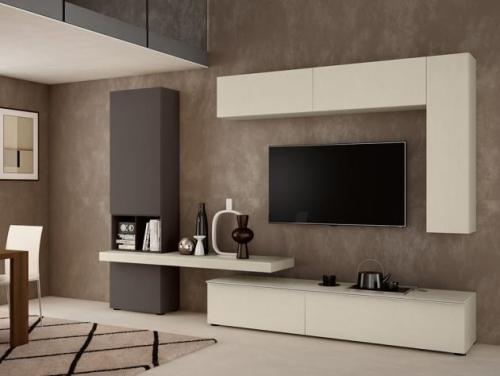 meuble TV ensemble en gris et blanc
