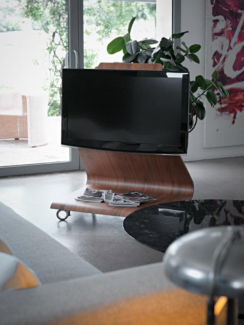 meuble TV forme originale à roulettes