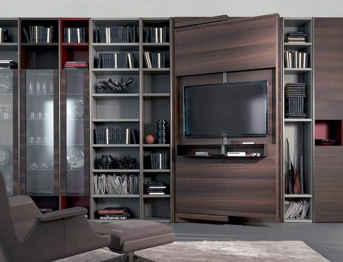 meuble TV grand ensemble avec bibliothèque