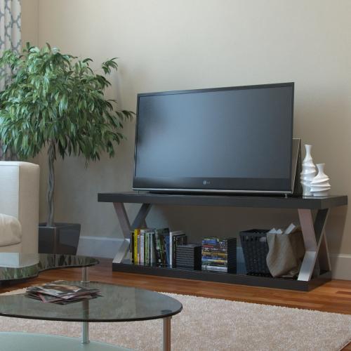 meuble TV joli en semble d' inox et de marbre