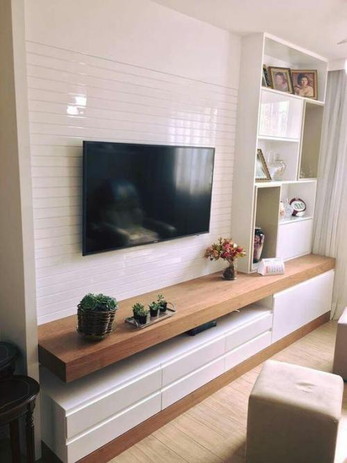 meuble TV mur en blanc laqué