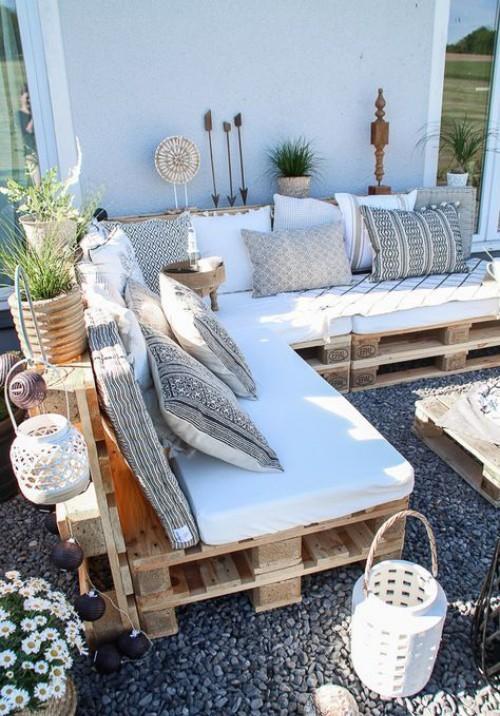 meubles de jardin en palettes canapé en L