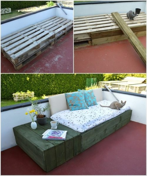 meubles de jardin en palettes joli canapé et table à côté