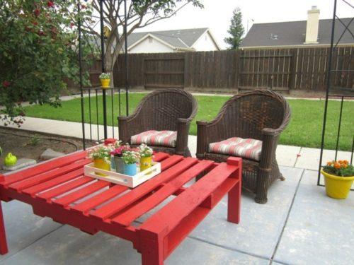 meubles de jardin en palettes jolie table peinte en rouge