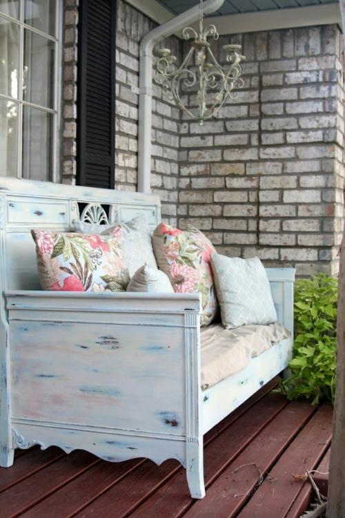 meubles shabby chic mur de terrasse en briques
