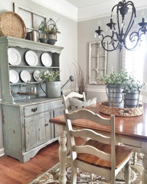 meubles shabby chic mur en gris clair