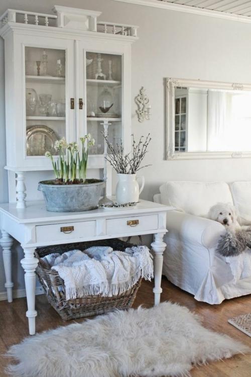 meubles shabby chic sol en parquet stratifié mur blanc