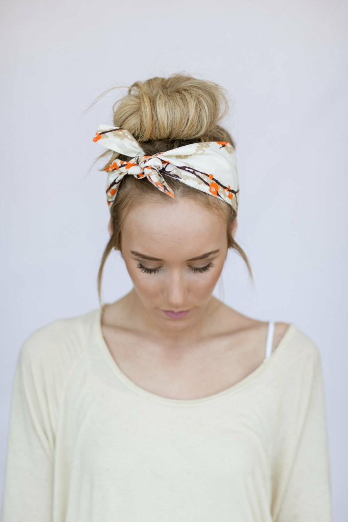 mode femme nouer foulard cheveux