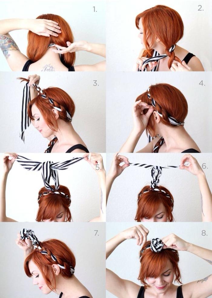 pas à pas nouer foulard cheveux