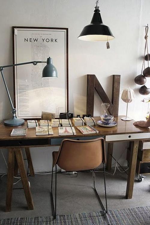petit bureau industriel meuble en bois