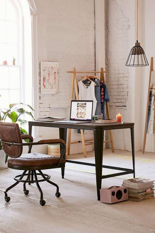 petit bureau industriel meuble en métal et en bois