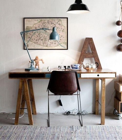 petit bureau industriel meuble solide