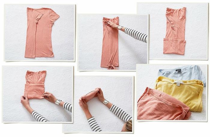 plier t-shirt rangement konmari