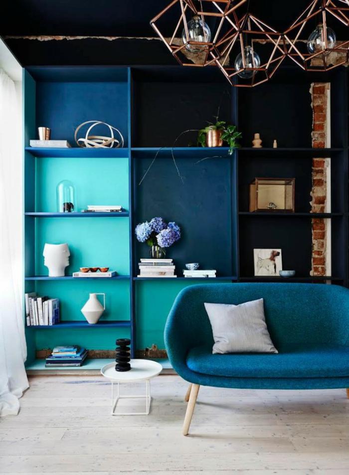 salon tendance quelle couleur associer au bleu pétrole