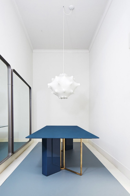 table à manger couleur bleu design